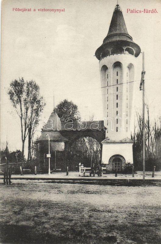 Palic, entry, water tower, Palicsfürdő, Főbejárat, Víztorony, Heumann Mór kiadása