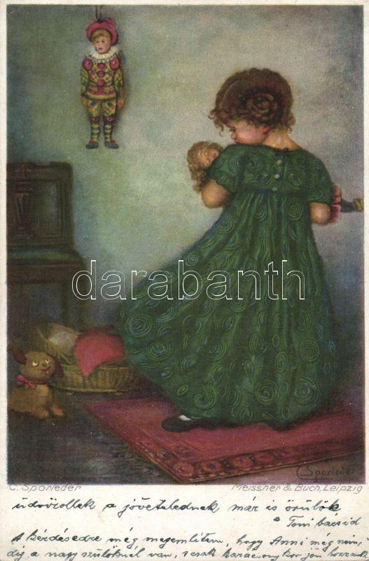 Girl, Meissner & Buch Künstlerpostkarten Serie 2425. s: C. Sporleder, Kislány, Meissner & Buch Künstlerpostkarten Serie 2425. s: C. Sporleder