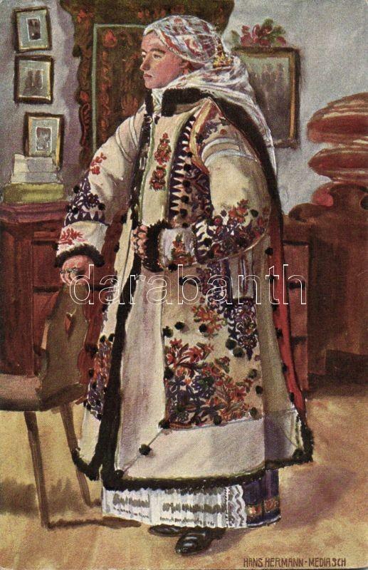 Transylvanian folklore from Ghinda s: Hans Hermann, Erdélyi népviselet Nr. 9830.; Vindai fiatalasszony s: Hans Hermann