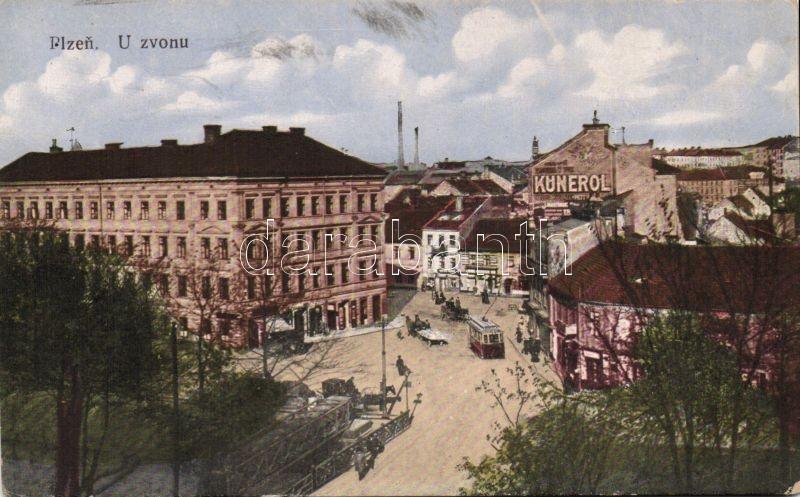Plzen, Pilsen; U zvonu / square, bridge, tram, Kunerol