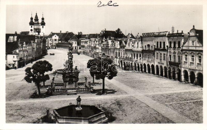 Telc, main square, monument, church, Alois Bures's shop, Jan Bruner's shop, Josef Cap's shop, drugstore