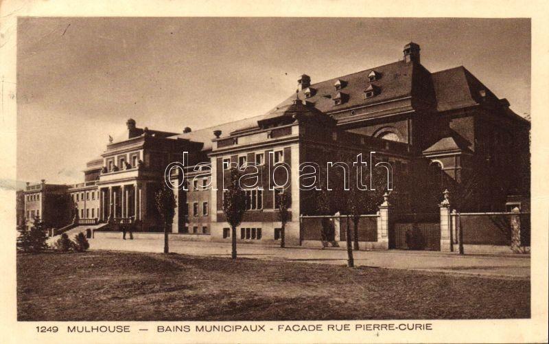 Mulhouse, Bains Municipaux, Facade Rue Pierre-Curie / spa, street