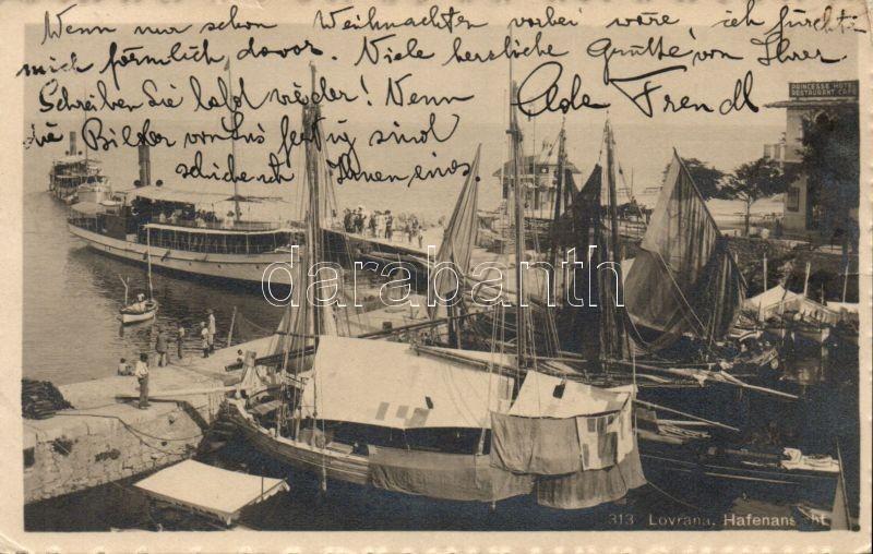 Lovran, Lovrana;  docks with SS Lovrana and Hotel Princesse
