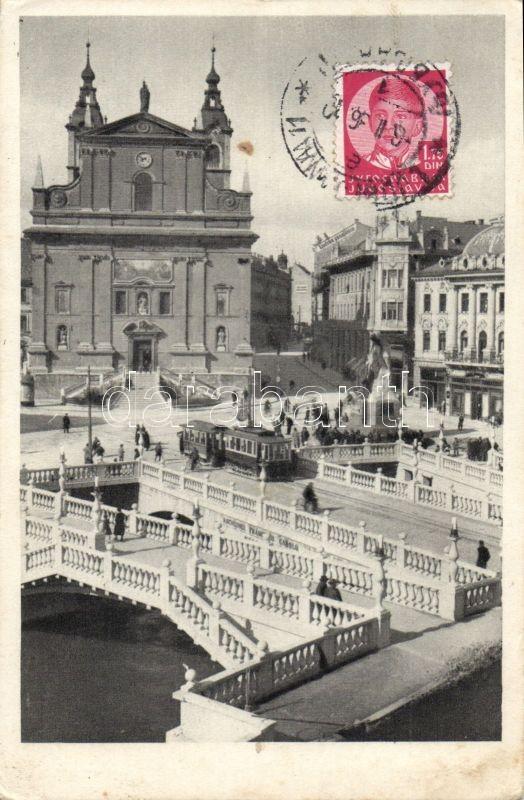 Ljubljana, Laibach; Marijin trg. / square, tram