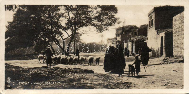 Egyptian village near Cairo, shepherds (15 × 7,5 cm)
