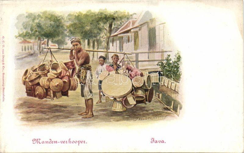 Java, Manden-verkooper / Java, Basket vendor, folklore s: Jan van der Heyden