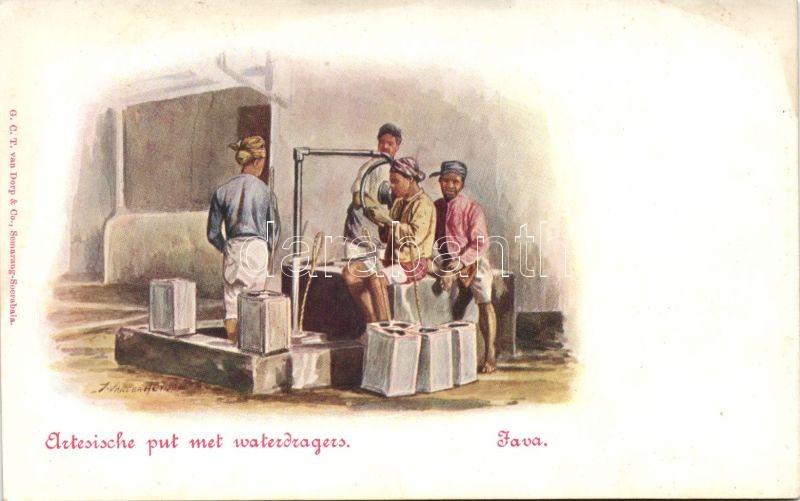 Java, Artesiche put met waterdragers / Java, Artesian well with water carriers, folklore s: Jan van der Heyden