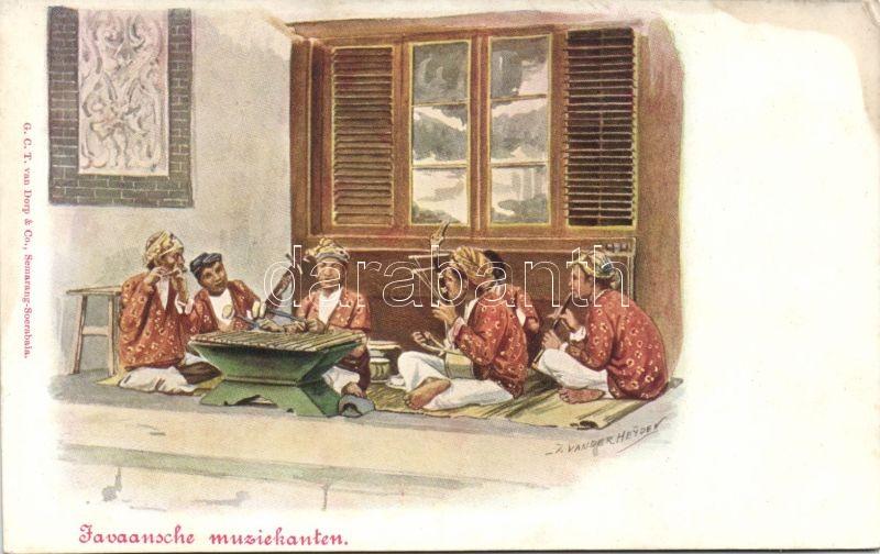 Java, Javaansche muziekanten / Java, Javan musicians folklore s: Jan van der Heyden