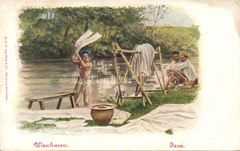 Java, Waschman / Java, washing man, folklore s: Jan van der Heyden