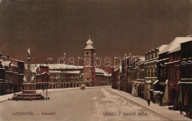 Litomysl main square in winter, monument
