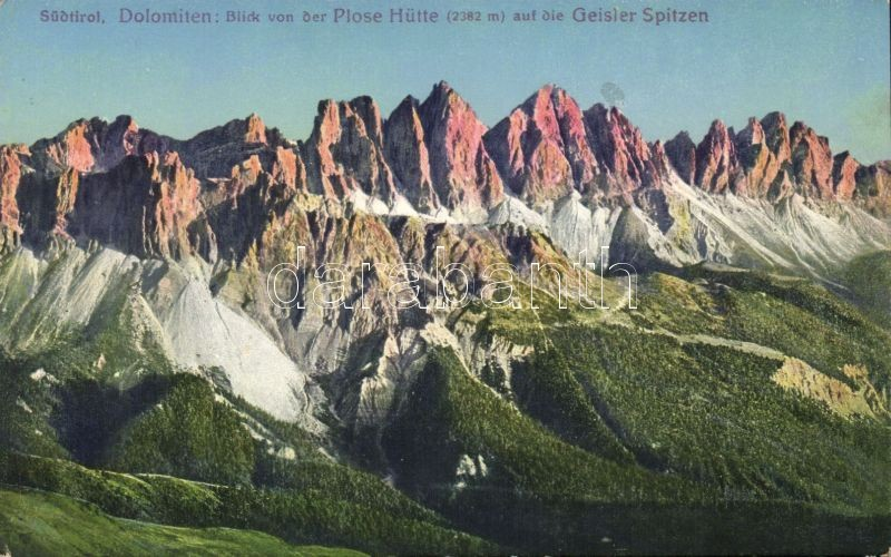 Rifugio Plose, Plosehütte; Geisler / mountain peaks, Dolomites; Geisler peaks