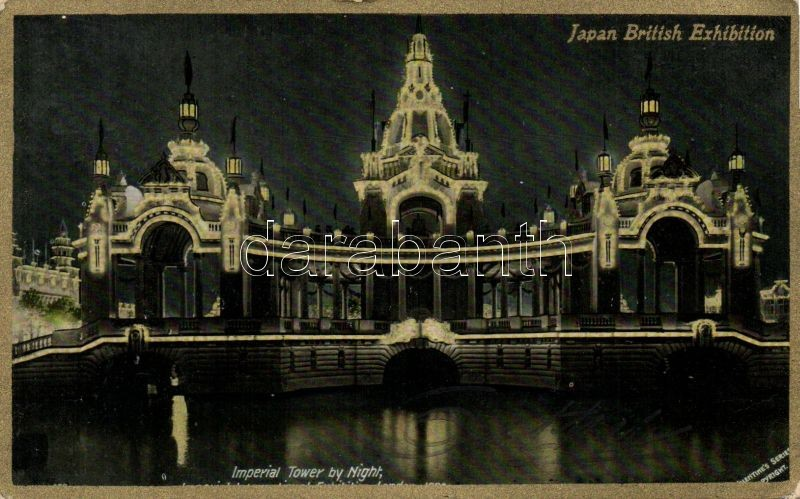 1910 London, Japan-British Exhibition, Imperial Tower by night