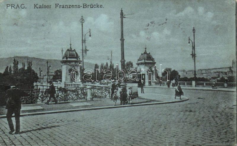Praha, Kaiser Franzens-Brücke / Franz bridge with tram
