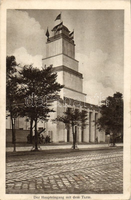 1916 Vienna, War Expo, main entrance, cannon, 1916 Bécs, háború kiállítás, főbejárat, ágyú, 1916 Wien, Kriegsaustellung, Haupteingang, Kanone
