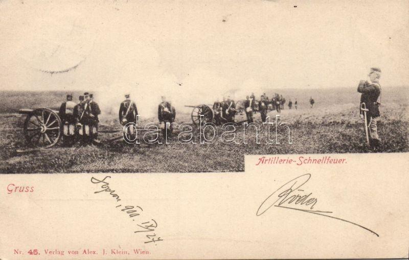 Artillerie Schnellfeuer / K.u.K. military, cannon, K.u.K. katonai lap, ágyútűz