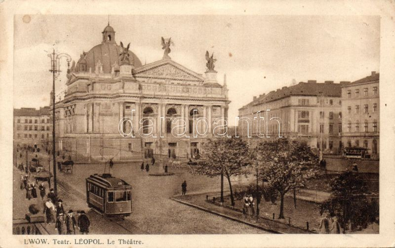 Lviv, Lwów, Lemberg; Teatr. Leopol / theatre, tram