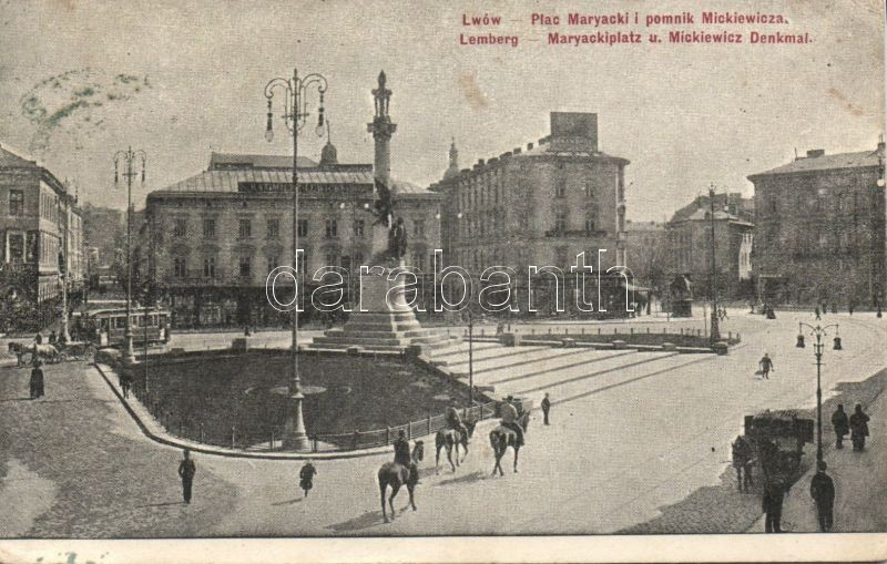 Lviv, Lwów; Maryacki square with Mickiewicz statue