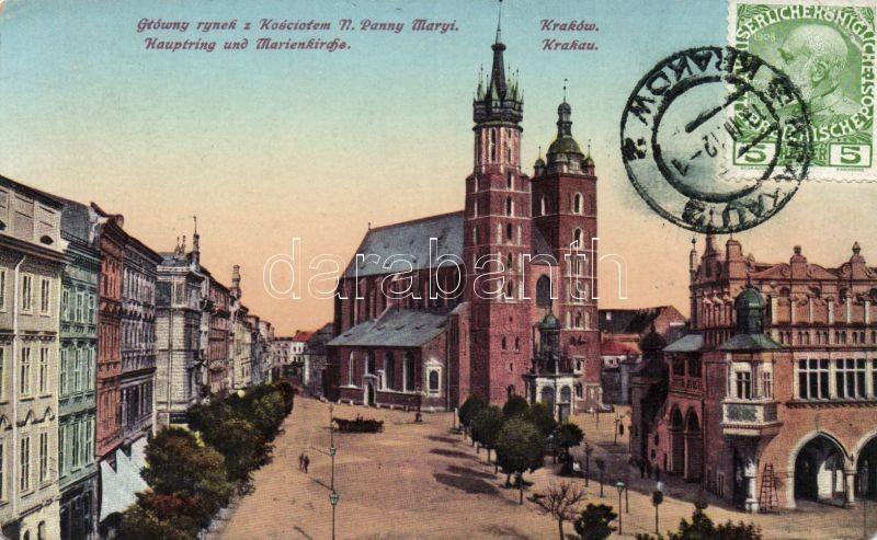 Krakow, main square, St. Mary's Basilica, Krakkó, Fő tér, Szent Mária Bazilika