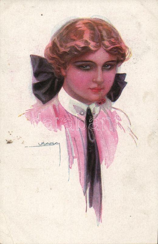 Olasz művészlap, hölgy 'Erkal No. 333/5.' s: Usabal, Italian art postcard, lady 'Erkal No. 333/5. s: Usabal