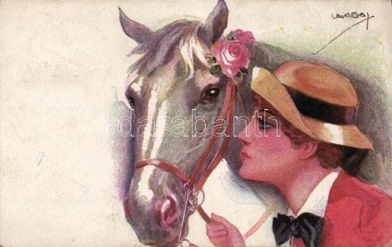 Italian art postcard, Lady with horse 'Erkal No. 328/5.' s: Usabal, Olasz művészlap, Hölgy lóval 'Erkal No. 328/5.' s: Usabal