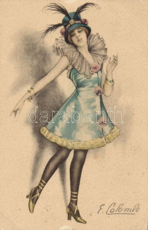 Italian art postcard, lady s: Colombo, Olasz művészlap, hölgy s: Colombo