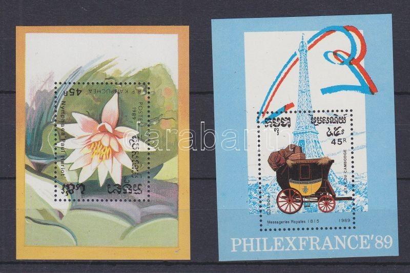 Water Lilies + PHILEXFRANCE´88 stamp exhibition 2 blocks, Tavirózsák + PHILEXFRANCE´88 bélyegkiállítás 2 blokk, Seerosen + Internationale Briefmarkenausstellung PHILEXFRANCE 2 Blöcke