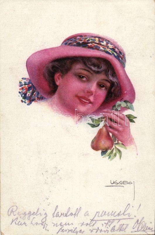 Lady with hat, pear 'Erkal Nr. 372-4.' s: Usabal, Hölgy kalapban, körtével 'Erkal Nr. 372-4.' s: Usabal