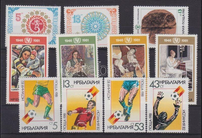11 diff. stamps in complete sets, 11 klf bélyeg teljes sorokban, 11 verschiedene Marken in ganzen Sätzen