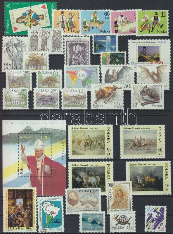 1996-1997 62 different stamps in complete sets + 2 blocks + 1 minisheet, 1996-1997 62 klf bélyeg teljes sorokban + 2 blokk + 1 kisív (5 stecklapon), 1996-1997 62 verschiedene Marken in ganzen Sätzen + 2 Blöcke + 1 Kleinbogen