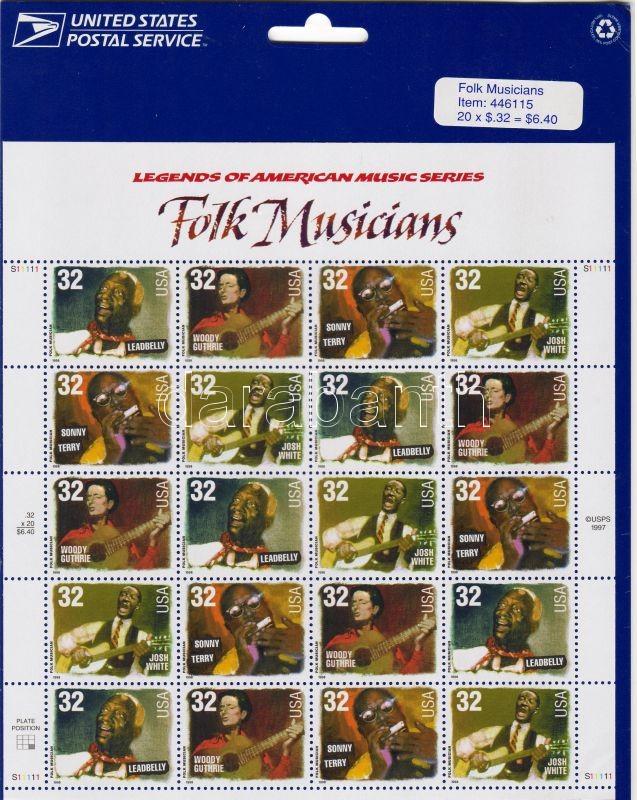 Folk musicians small sheet, Folk zenészek kisív, Amerikanische Musikgeschichte: Folkmusiker; Kleinbogen