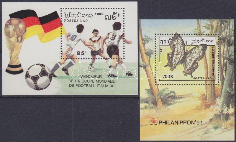 Football World Cup + PHILANIPPON´91 stamp exhibition 2 diff. blocks, Labdarúgó VB + PHILANIPPON´91 bélyegkiállítás 2 klf blokk, Fußball-Weltmeisterschaft + Briefmarkenausstellung PHILANIPPON '91 2 verschiedene Blöcke