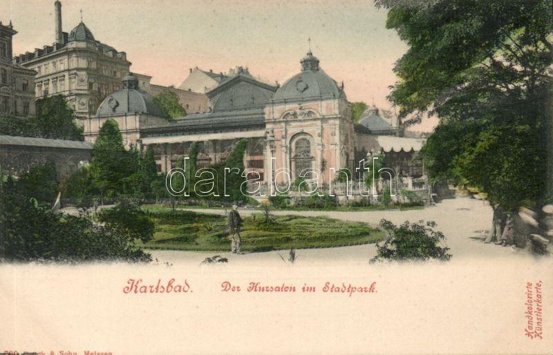 Karlovy Vary, Karlsbad; Stadtpark, Kursalon / city park, spa