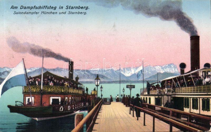 Starnberg, Dampfschiffsteg, Salondampfer München und Starnbrg / port, steam ships