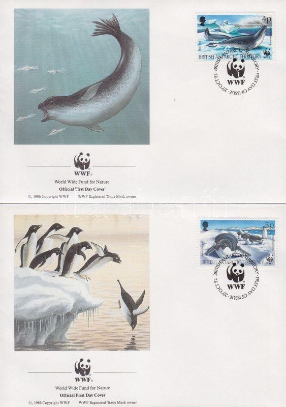 WWF Seals, penguins set on 4 FDC-s, WWF Fókák, pingvinek sor 4 FDC-n, WWF Robben und Pinguine Satz an 4 FDC