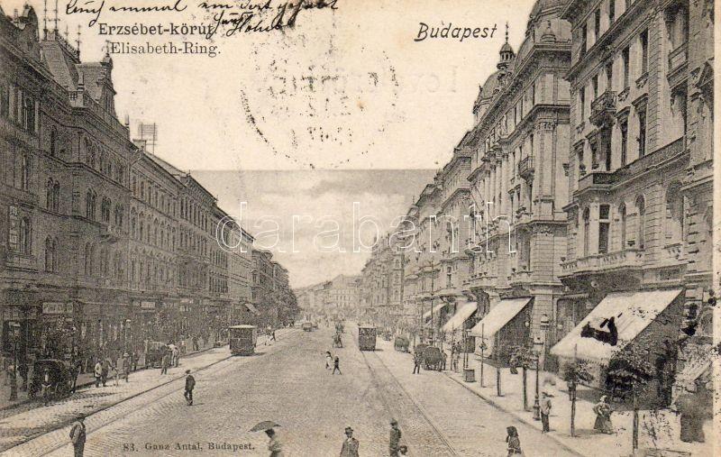 1899 Budapest VI. Erzsébet körút, villamos, Ganz Antal 83.