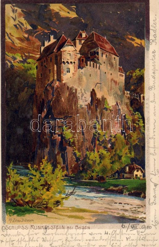 Bolzano, Bozen; Runkelstein Castle, litho s: M. Zeno Diemer, Bolzano, Bozen; Runkelstein vára, litho s: M. Zeno Diemer