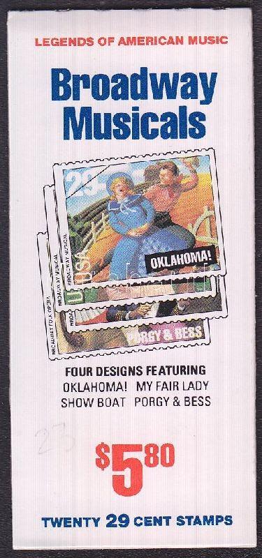 American music stamp booklet (Mi 2386-2389), Amerikai zene bélyegfüzet (Mi 2386-2389), Amerikanische Musikgeschichte Broadway Musicals Markenheftchen (Mi 2386-2389)