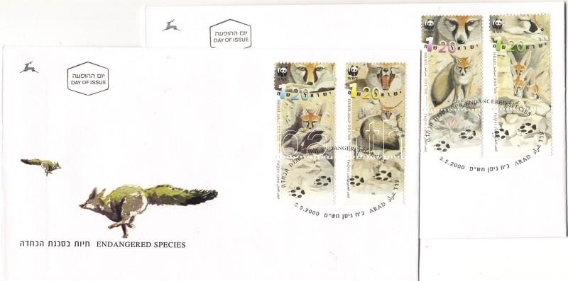 WWF Vulpes cana stamps with tab on FDC, WWF afgán róka tabos bélyegek FDC-n, WWF Vulpes cana Marken mit Tab an FDC