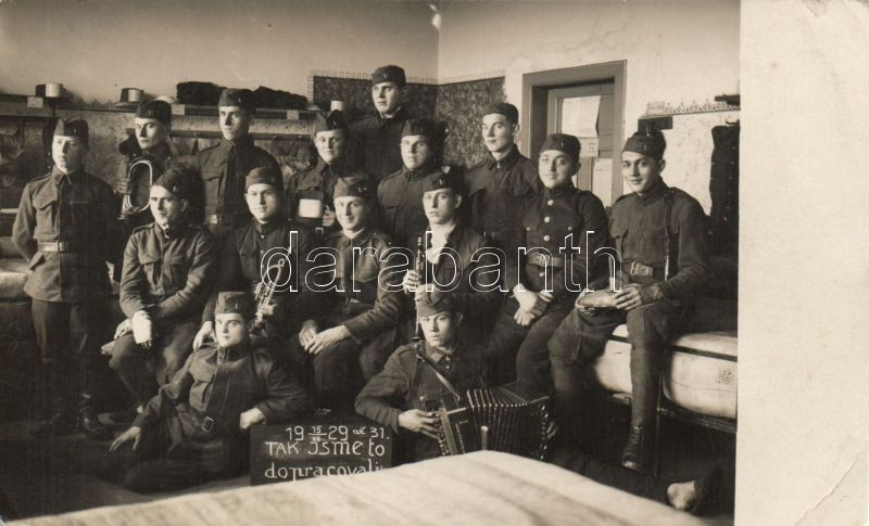Czech military band photo, Cseh katonazenekar, csoportkép, photo