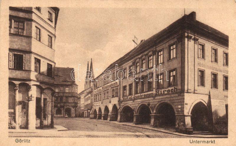 Zgorzelec, Görlitz; Untermarkt, Hotel zum braunen Hirsch, Ernst Boden Möbelmagazin / hotel, shops, street