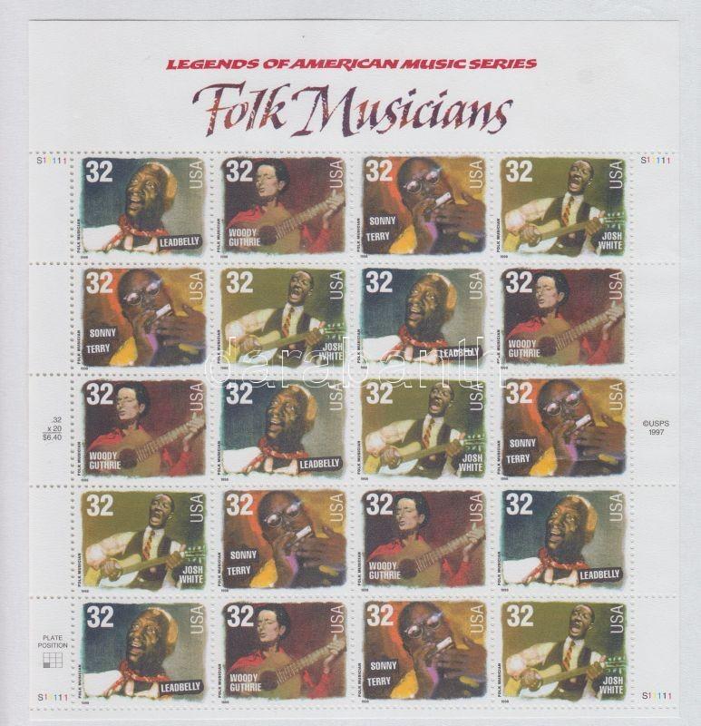 1998 Amerikai zenetörténet, Folk zenészek kisív Mi 2979-2982