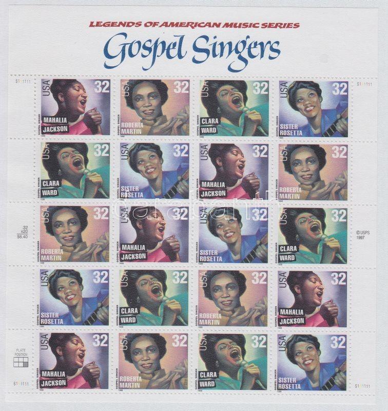 1998 Amerikai zenetörténet, gospel énekesek, kisív Mi 2984-2987