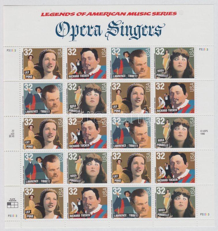 American music history, opera singers, mini sheet, Amerikai zenetörténet, operaénekesek, kisív, Amerikanische Musikgeschichte Opernsänger Kleinbogen