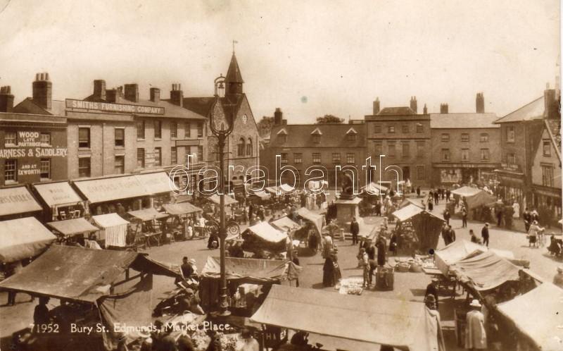 Bury St. Edmunds, market place, Smiths Furnishing Company, Harness & Saddlery wood and lathe shop, cycle shop