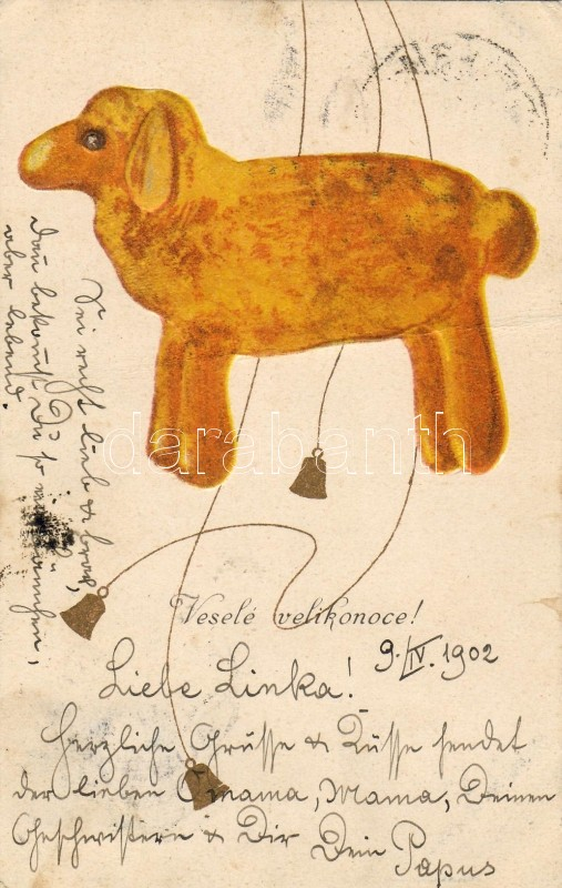 Easter greeting card, lamb, golden bells, B.K.W.I. 4011-5 Emb., bárány, csengő