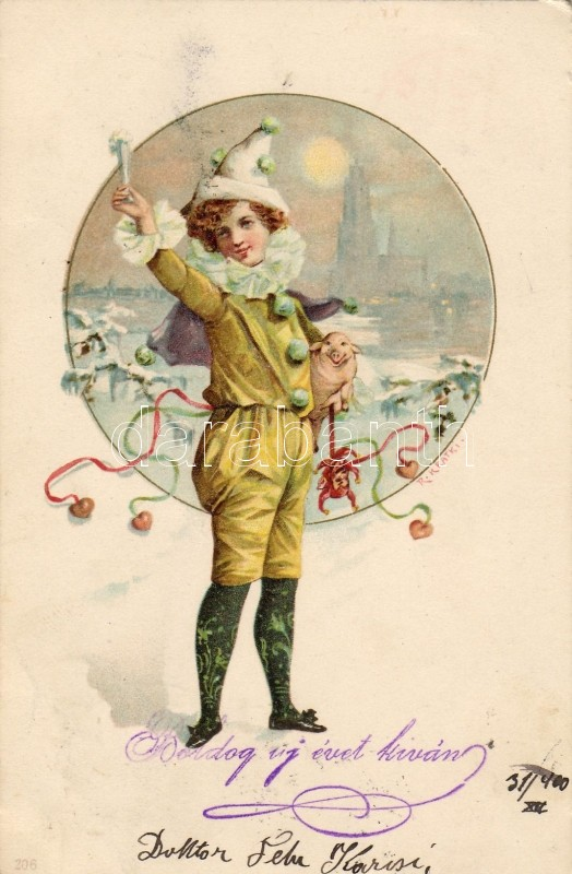 New Year greeting card, clown, pig, litho s: Kratki