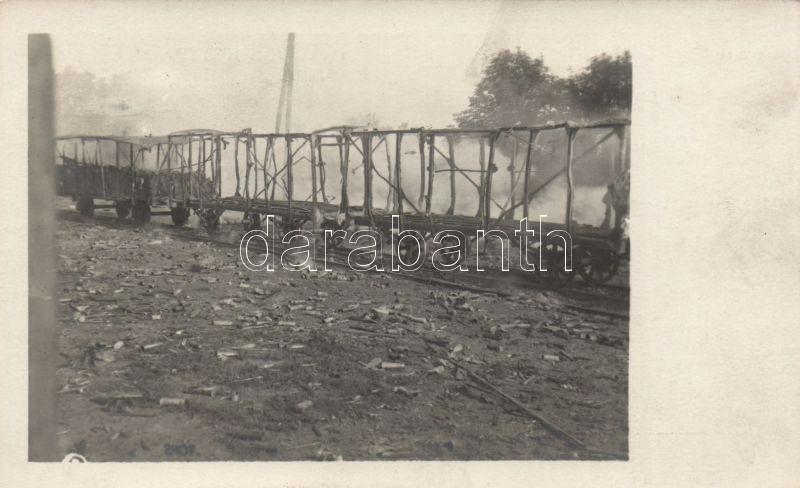 WWI Military burnt out Russian ammunition train photo, Első világháborús kiégett orosz lőszerszállító vonat photo