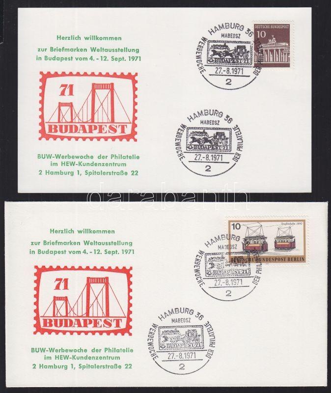 Címezetlen alkalmi boríték és levelezőlap a Budapest´71 bélyegkiállítás hamburgi előzeteséről HUNGARIKA Special cover and postcard: Budapest´71 Stamp Exhibition in Hamburg HUNGARIKA