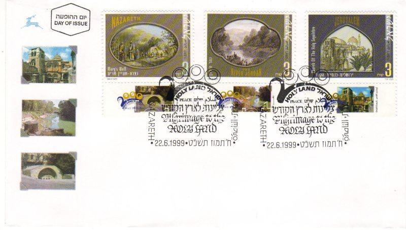 Pilgrimage to the Holy Land, engravings with tab on FDC Zarándokút a Szentföldre, metszetek tabos FDC