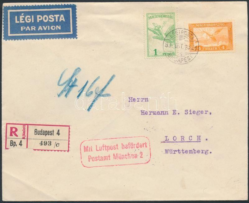 Registered armail cover to Germany, Ajánlott légi levél Németországba